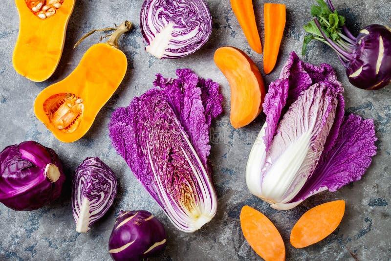 在灰色石桌的季节性冬天秋天秋天菜 植物基于素食主义者或素食烹调概念 干净的吃食物 库存照片