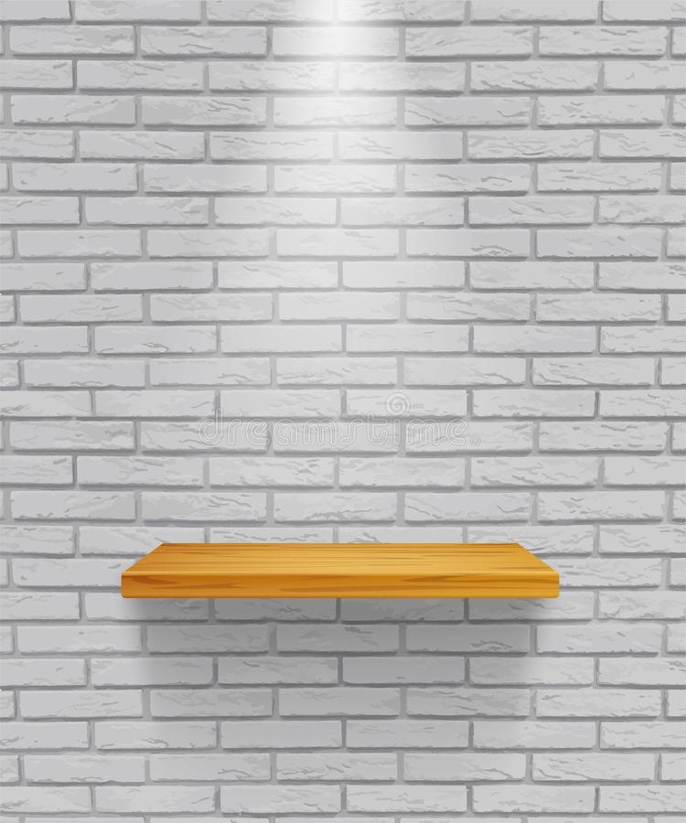 在灰色砖墙背景隔绝的传染媒介空的木架子 库存例证