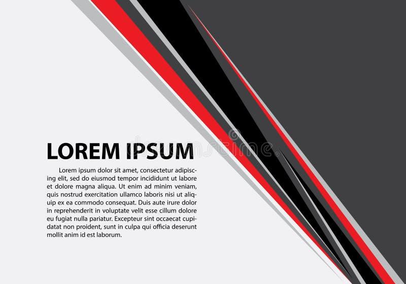 在灰色空白的抽象红色黑三角线文本地方设计现代未来派创造性的背景传染媒介的 向量例证