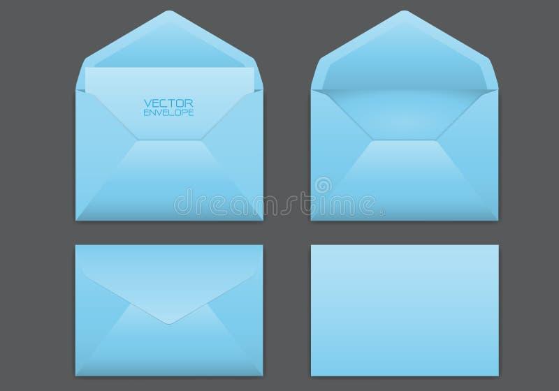 在灰色背景传染媒介设置的现实蓝色信封 向量例证