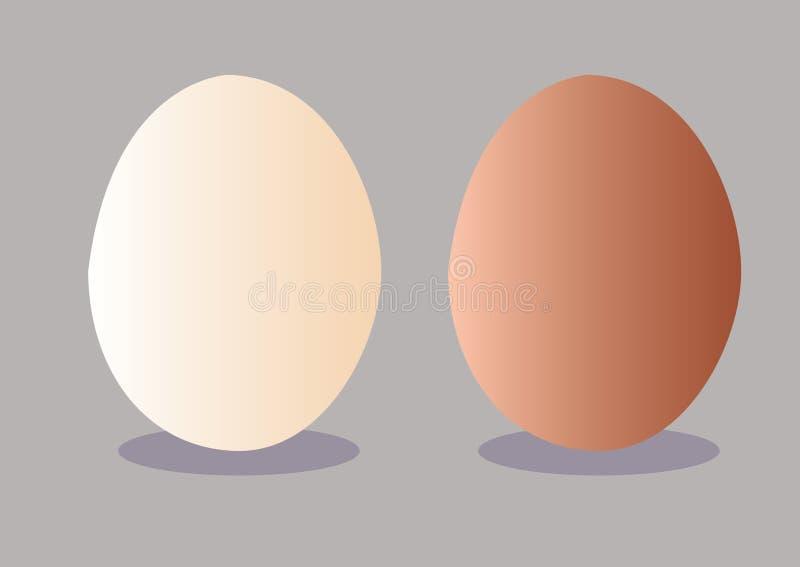 在灰色背景例证的新鲜的鸡蛋 向量例证