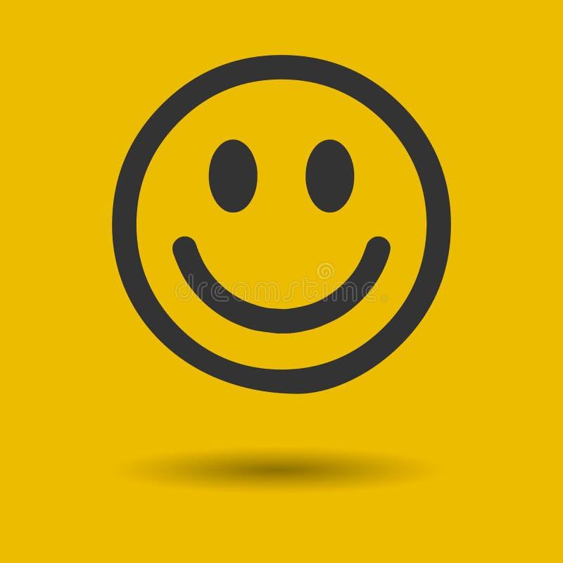 在灰色背景在时髦平的样式的微笑象隔绝的 您的网站设计的愉快的面孔标志,商标, app, UI 传染媒介不适 向量例证