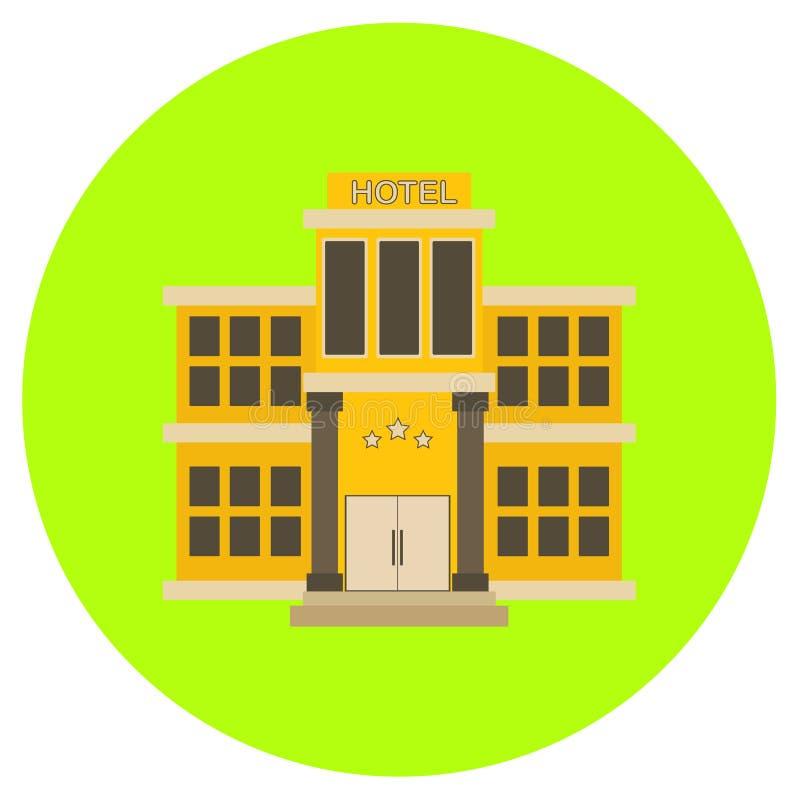 在灰色背景在时髦平的样式的旅馆象隔绝的 您的设计的大厦标志,商标, UI 向量例证, EPS10 库存例证