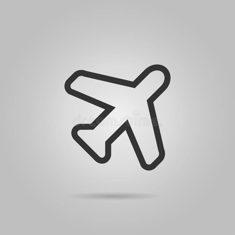 在灰色背景在时髦平的样式的飞机象隔绝的 您的网站设计的平面标志,商标, app, UI 传染媒介illus 向量例证