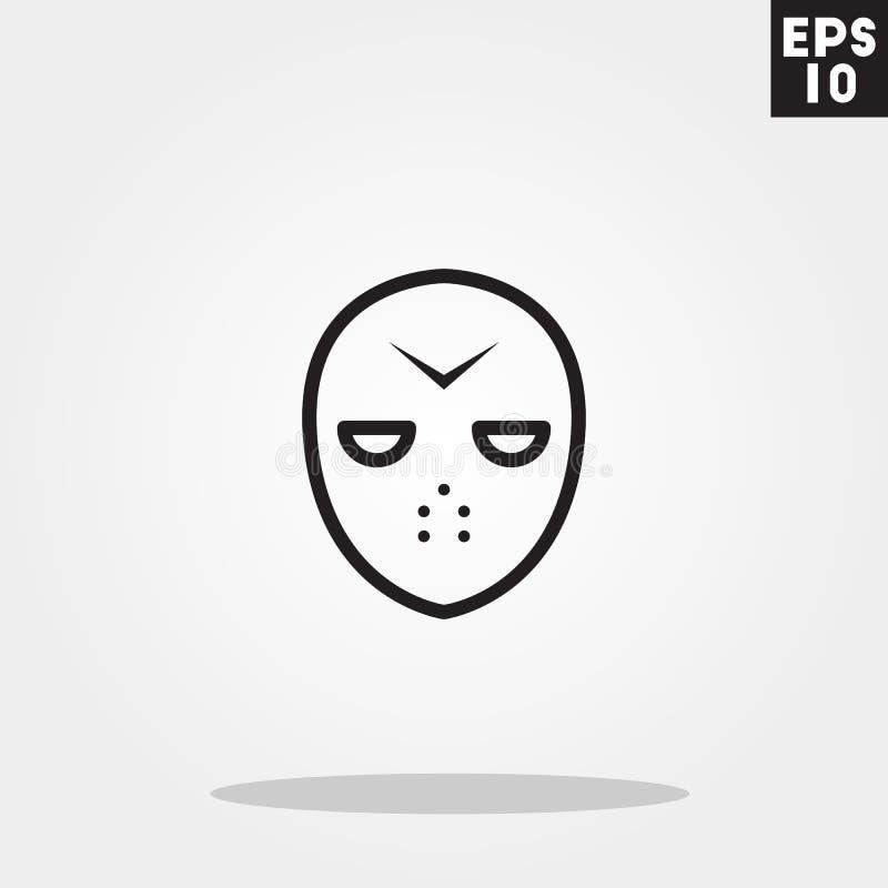 在灰色背景在时髦平的样式的Hokey面具连环杀手妖怪象隔绝的 库存例证