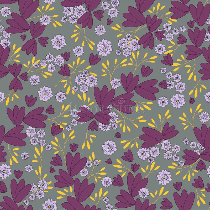 在灰色背景的传染媒介无缝的花卉样式 叶子和花纹花样 库存例证
