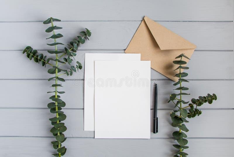 在灰色背景的信件、信封和玉树分支 邀请卡片或者情书 顶视图,平的位置 免版税库存图片