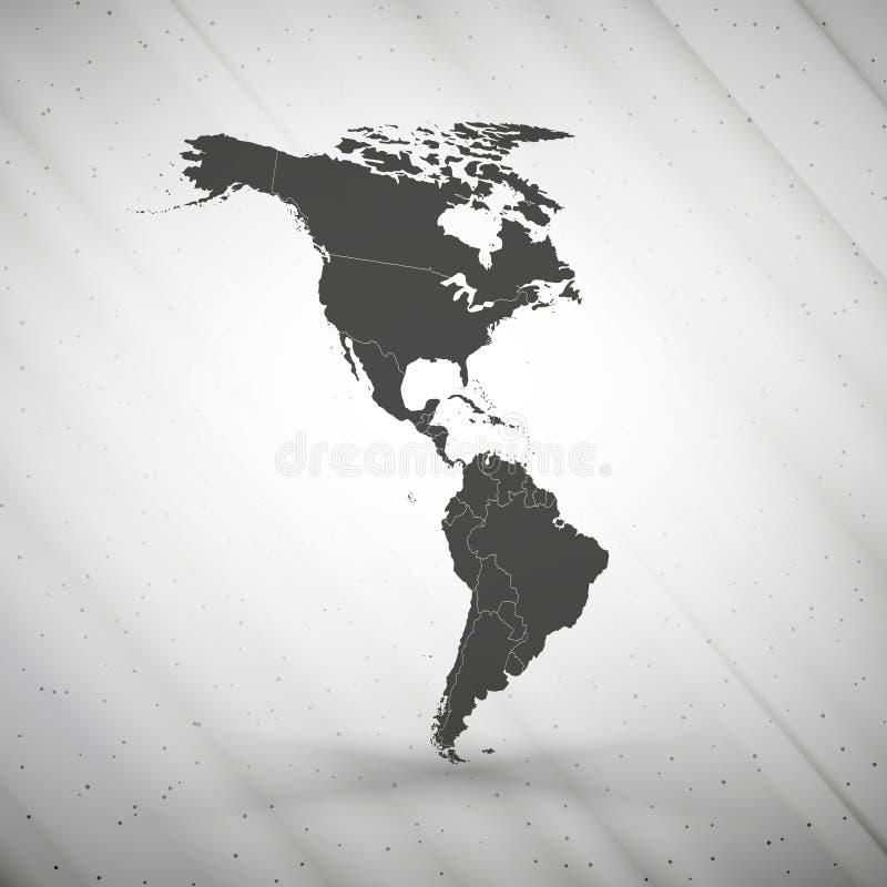 在灰色背景的北部和南美地图, 向量例证
