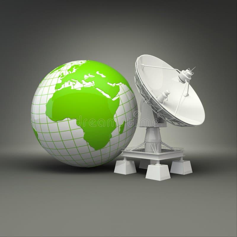 在灰色背景的卫星盘和地球 向量例证