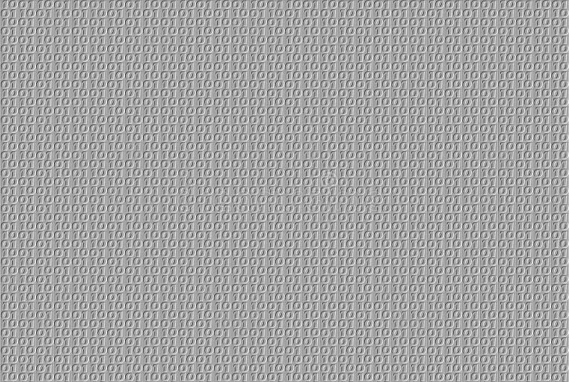 在灰色背景的压印的二进制样式 库存例证