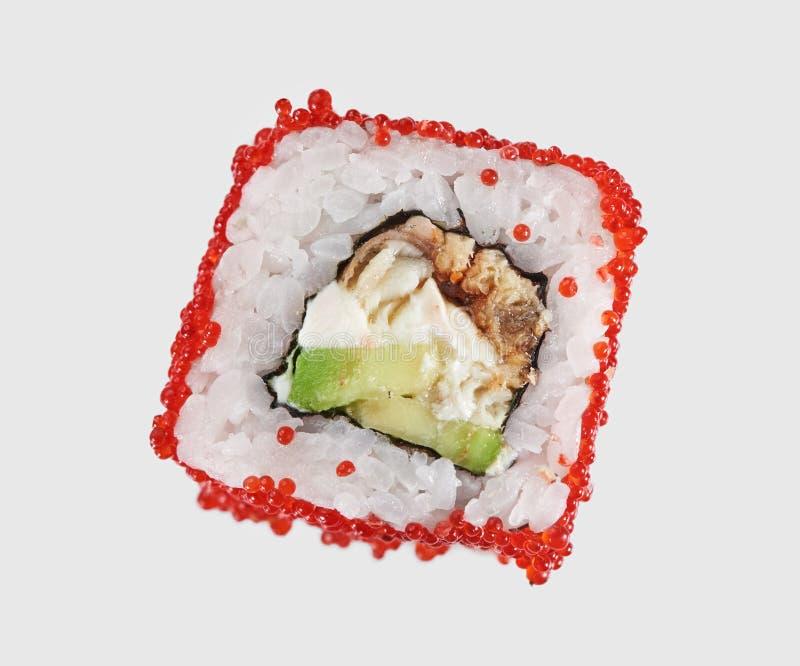 在灰色背景的寿司卷 免版税库存照片