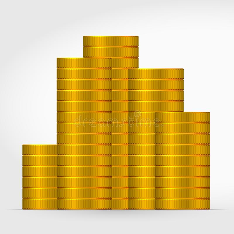 在灰色背景的很多硬币 堆金币象 向量例证