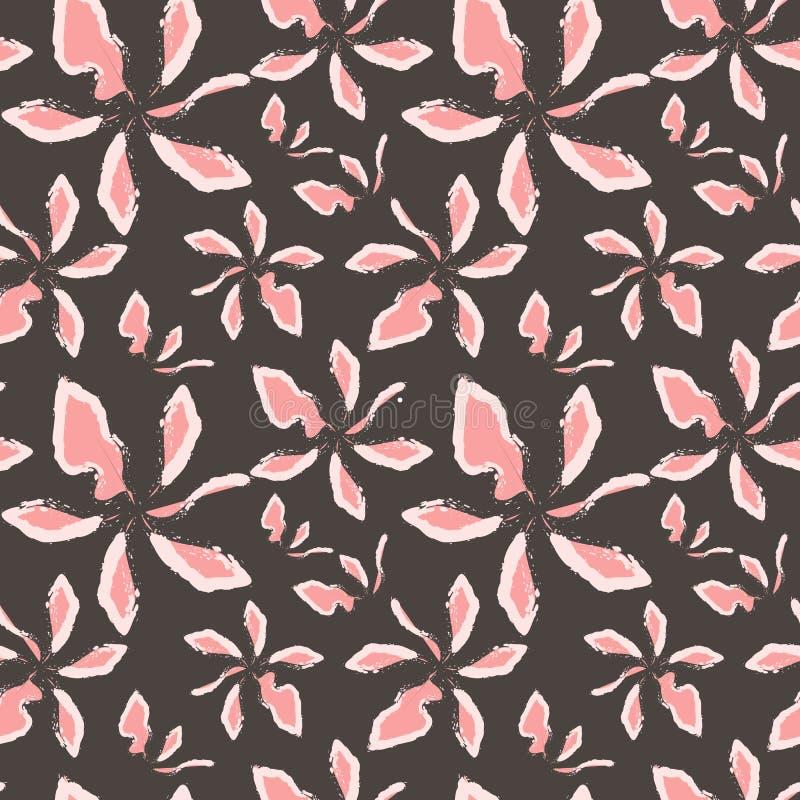 在灰色背景的抽象派桃红色和白花 向量例证