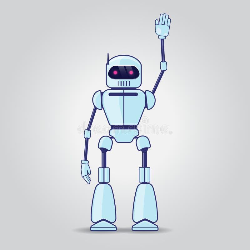 在灰色背景的机器人字符 向量例证