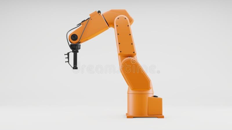 在灰色背景的机器人胳膊 产业机器人操作器 库存例证