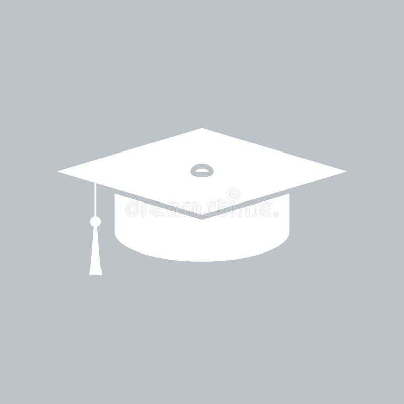 在灰色背景的毕业盖帽平的象,任何场合的 向量例证
