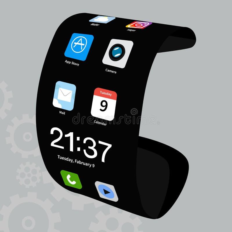 在灰色背景的灵活的电话传染媒介象 在灰色隔绝的有弹性智能手机例证 新技术小配件 向量例证