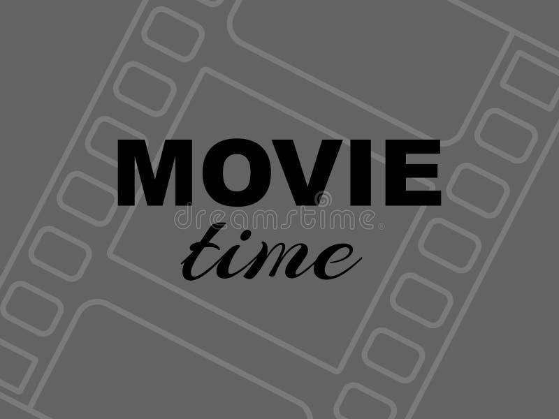 在灰色背景的电影时间时间卡与filmstrip 向量例证