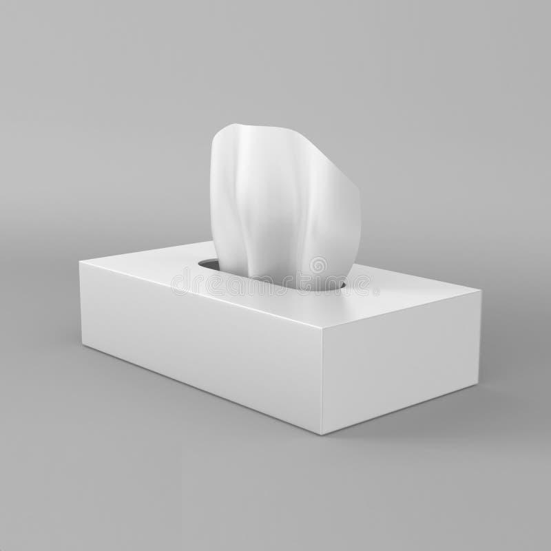 在灰色背景的白色空白的组织箱子印刷品设计和嘲笑的 3d回报例证模板 向量例证