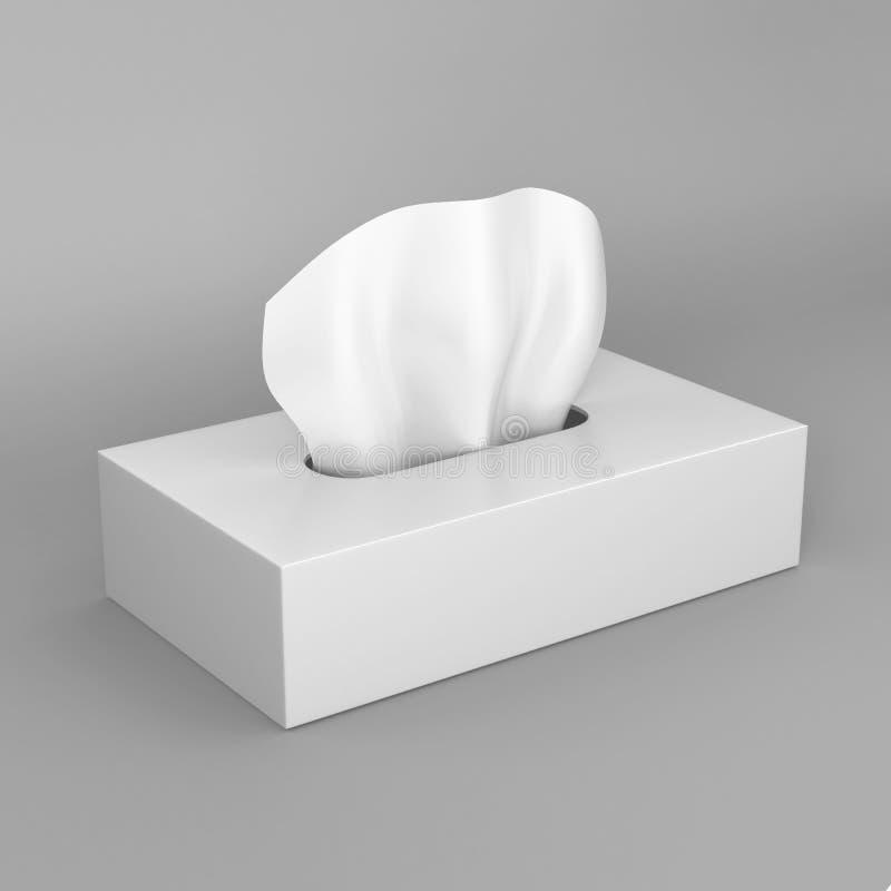 在灰色背景的白色空白的组织箱子印刷品设计和嘲笑的 3d回报例证模板 皇族释放例证