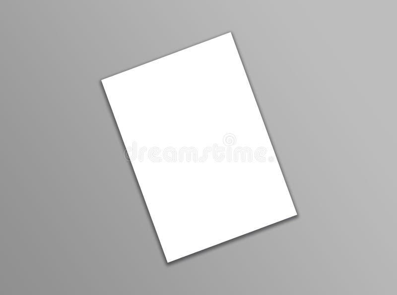 在灰色背景的空白的A4白色飞行物模板纸与软性 免版税库存照片