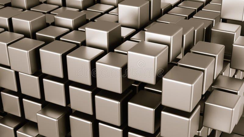 在灰色背景的立方体族聚 库存例证