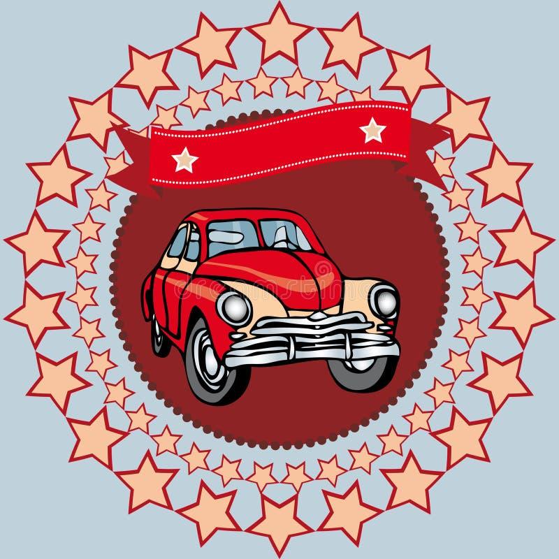 在灰色背景的红色葡萄酒汽车与星和丝带 向量 皇族释放例证