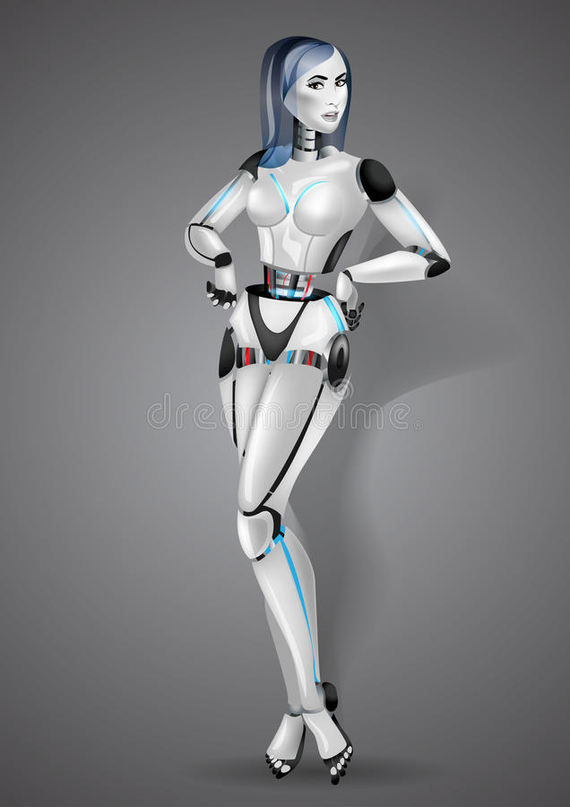 在灰色背景的美丽的女孩机器人机器人 向量例证