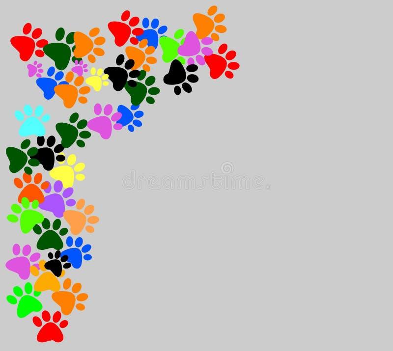 在灰色背景的色的pawprints 向量例证