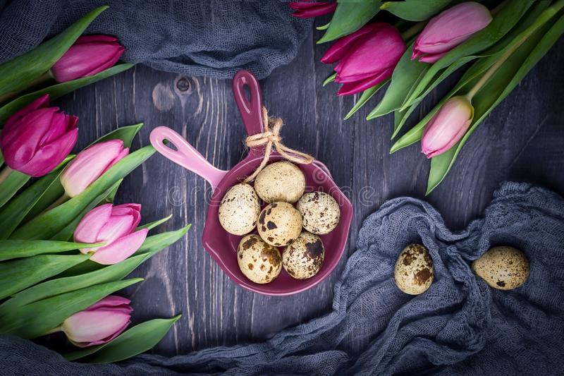 在灰色背景的被察觉的鹌鹑蛋和春天花郁金香 顶视图 免版税图库摄影