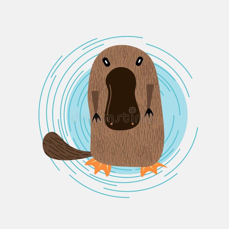 在灰色背景的逗人喜爱的动画片platypus传染媒介例证 向量例证