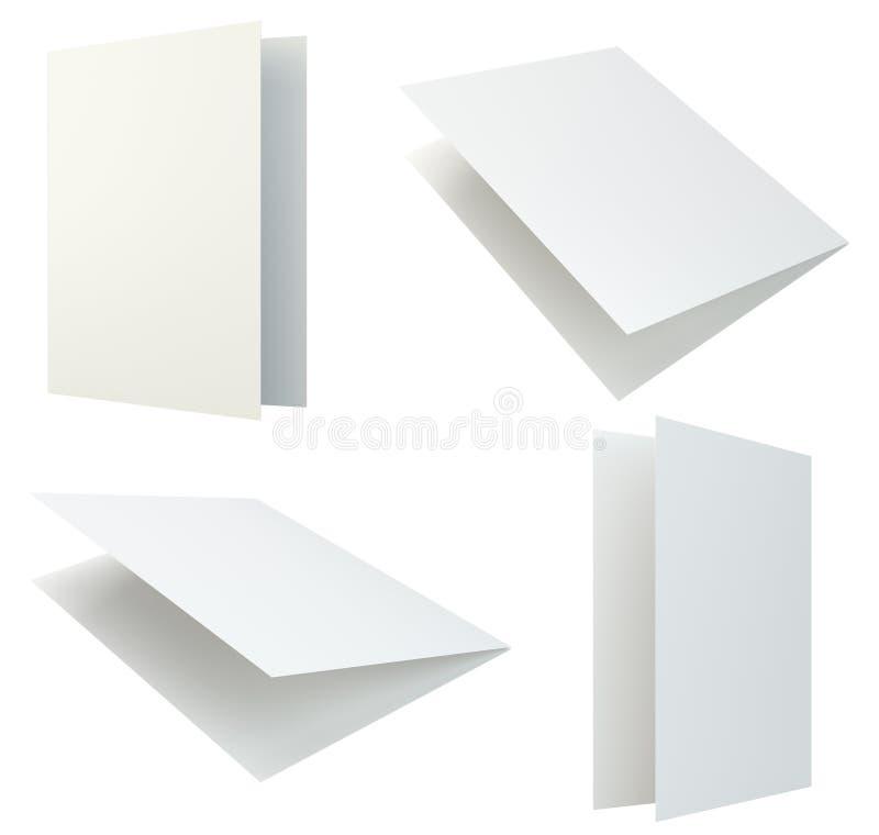 在灰色背景的集合空白的白色小册子 3D在白色背景隔绝的翻译 库存例证