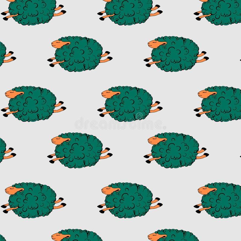 在灰色背景的飞行的绿色绵羊 跳舞的绵羊 高昂绵羊 与绵羊的无缝的样式 r 皇族释放例证