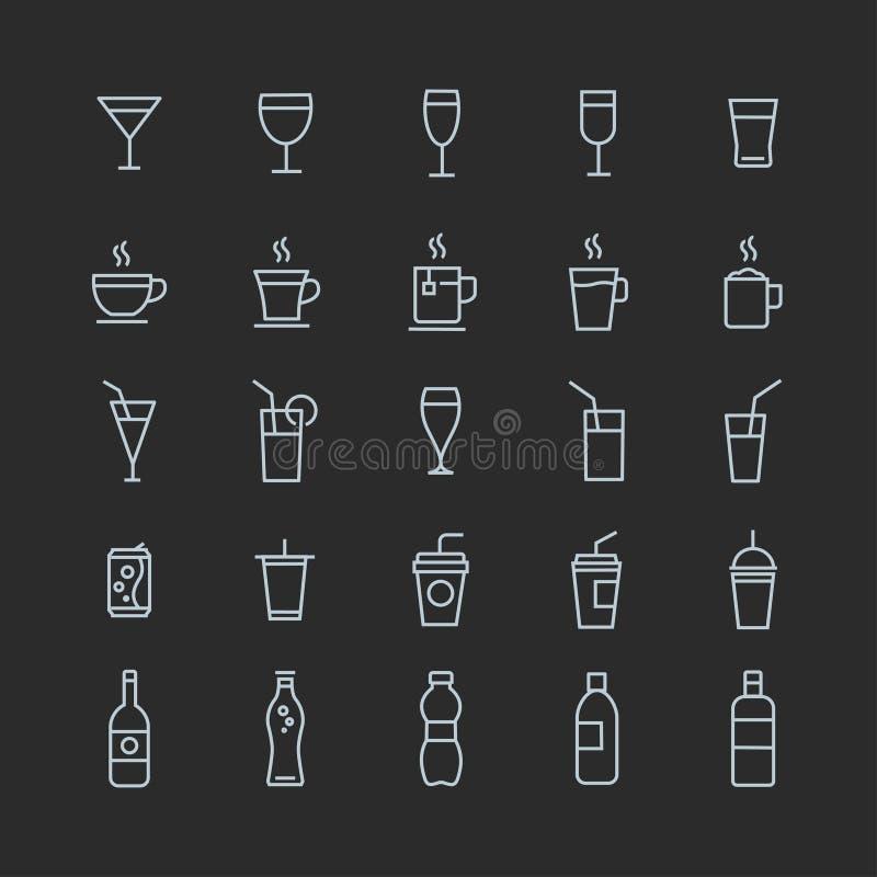 在灰色背景的饮料概述象储蓄传染媒介集合白色冲程 皇族释放例证