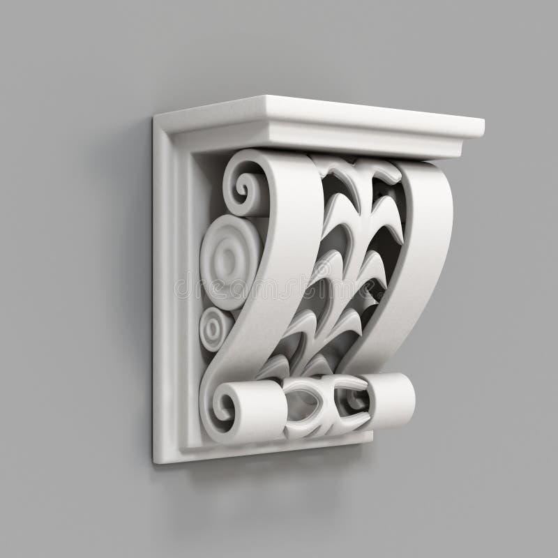 在灰色背景的建筑装饰元素 3d回报 向量例证
