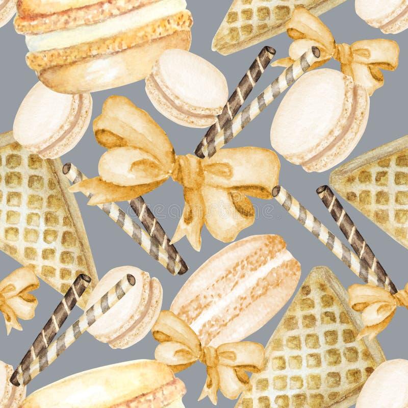 在灰色背景的Macarons蛋糕水彩无缝的样式 五颜六色的甜法国点心 织品无缝的样式 免版税库存图片