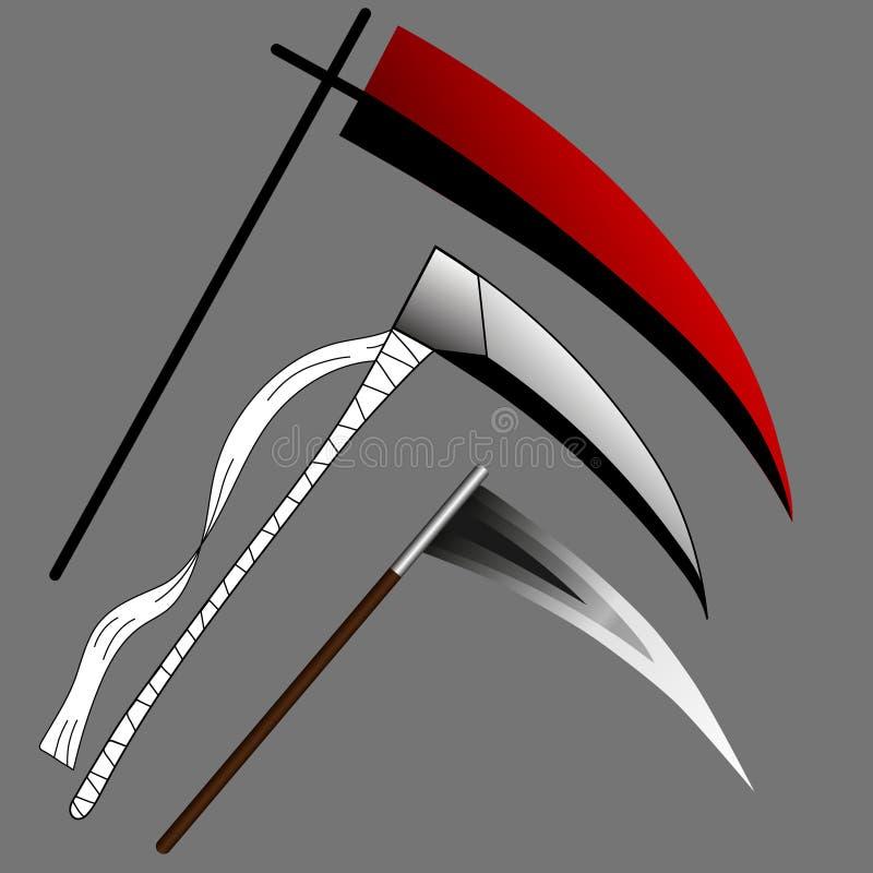 在灰色背景隔绝的套锋利的死亡大镰刀 红色或被包裹的大镰刀 武器集合 万圣夜元素 也corel凹道例证向量 皇族释放例证