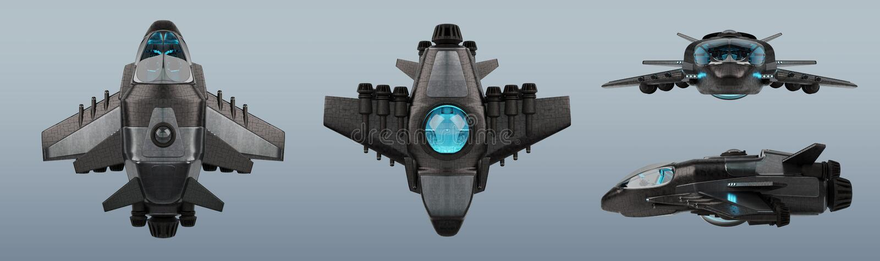 在灰色背景隔绝的未来派航天器收藏3D 向量例证