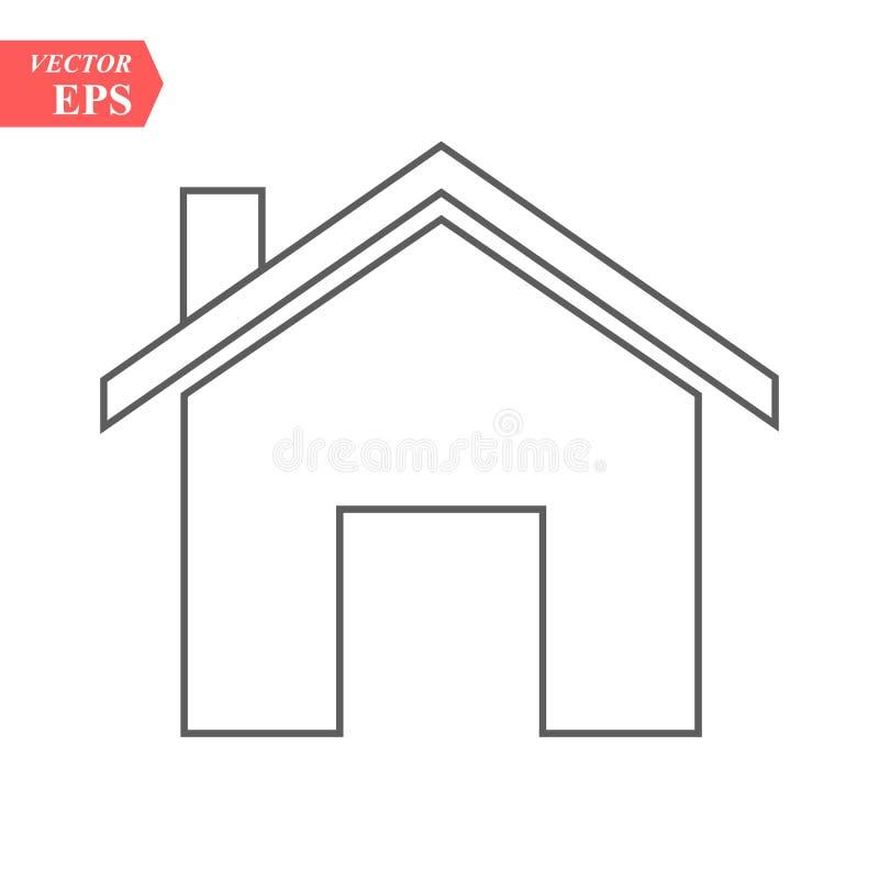 在灰色背景隔绝的概述家庭象 议院图表 线您的网站设计的主页标志,商标, app, UI 编辑 皇族释放例证