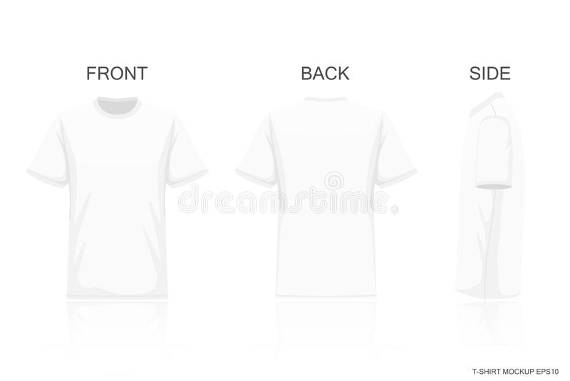 在灰色背景隔绝的白色T恤杉,前方您创造性的设计样式的后面视图在衬衣,大模型 向量例证