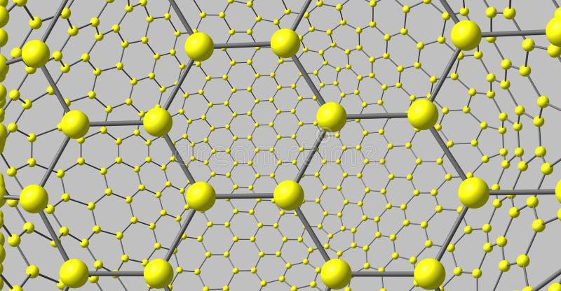 在灰色背景隔绝的象Graphene的分子结构 库存例证