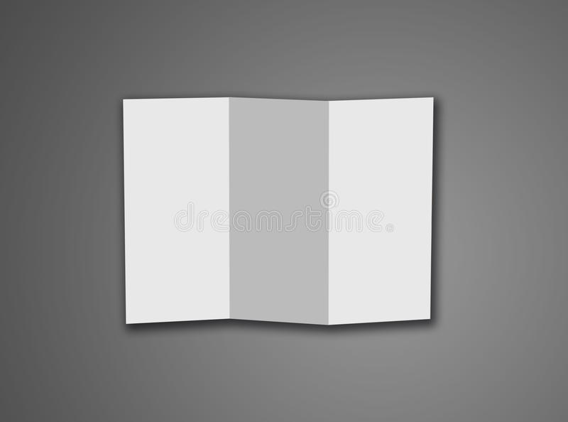 在灰色背景隔绝的空白的三部合成的白色模板纸w 库存图片