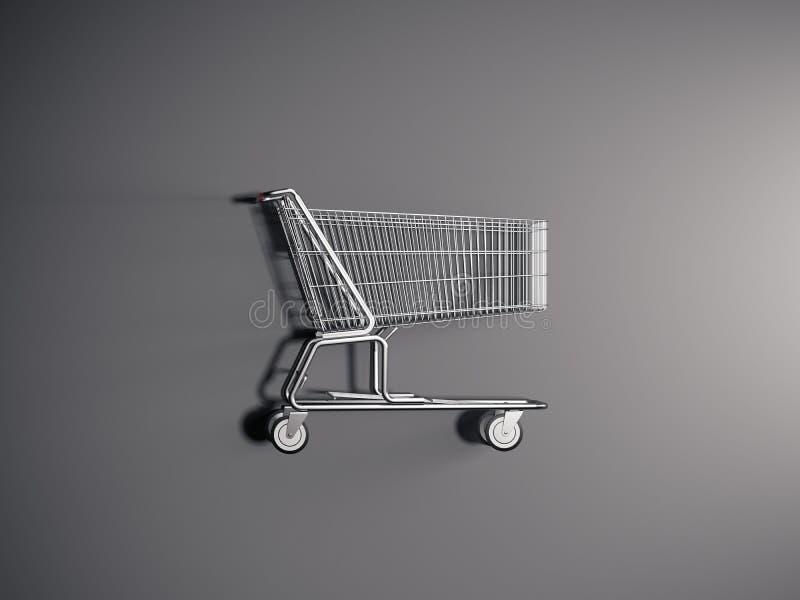 在灰色背景, 3d的现实购物车翻译 库存例证