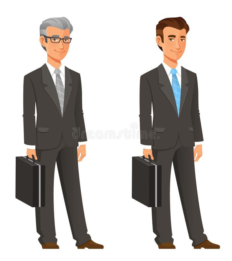 在灰色衣服的动画片商人 皇族释放例证