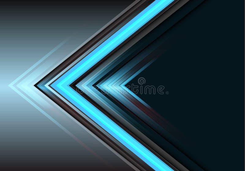 在灰色设计现代未来派背景传染媒介的抽象蓝色箭头光力量方向 库存例证