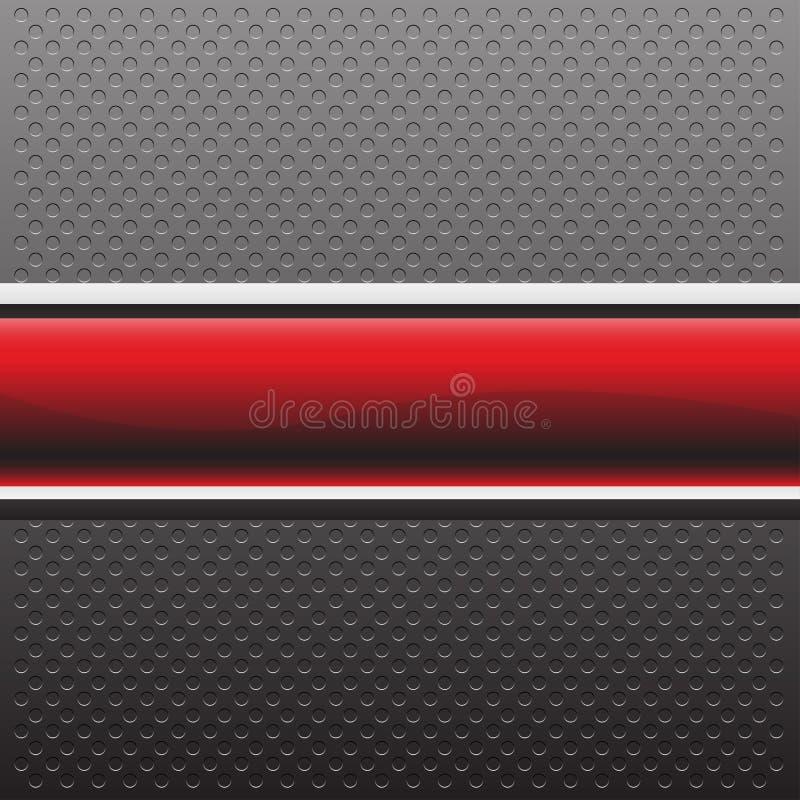 在灰色金属圈子纹理样式设计现代背景传染媒介的抽象红色横幅 向量例证