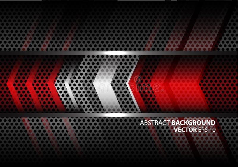 在灰色金属圈子滤网设计现代背景纹理传染媒介的抽象红色银色箭头 皇族释放例证