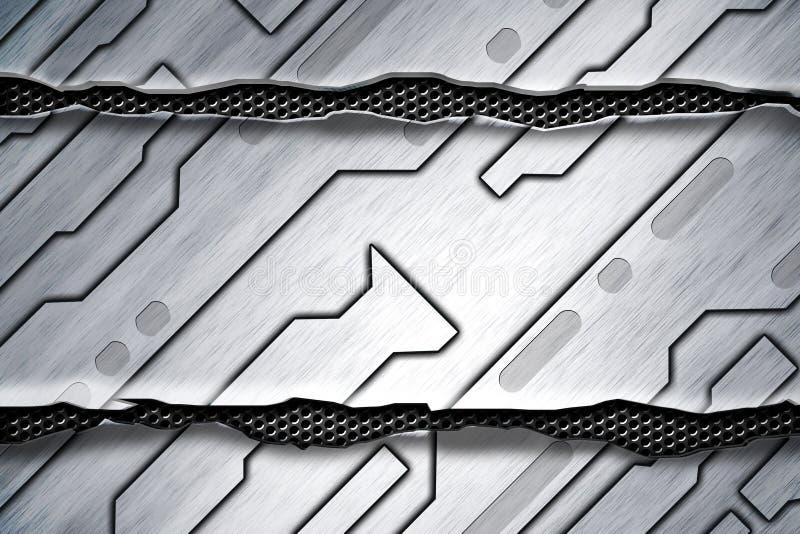 科学幻想小说墙壁 在灰色金属滤网的白合金墙壁 向量例证