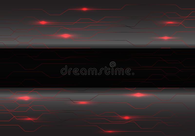 在灰色金属的抽象黑横幅与红色电路光技术设计现代未来派背景传染媒介 皇族释放例证