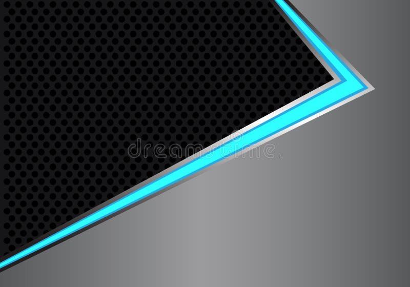 在灰色金属黑色圈子滤网设计现代未来派背景传染媒介的抽象蓝色轻的箭头方向 向量例证